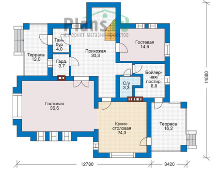 Проект бетонного дома 56-89 план