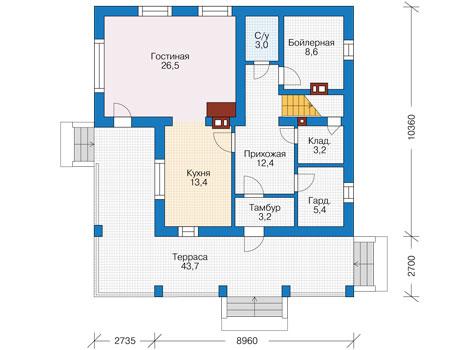 Проект бетонного дома 56-90 план
