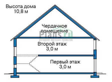 Проект бетонного дома 56-91 план