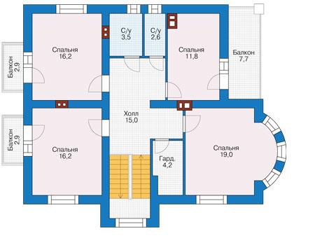 Проект бетонного дома 56-96 план