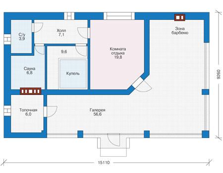 Проект бетонного дома 56-98 план