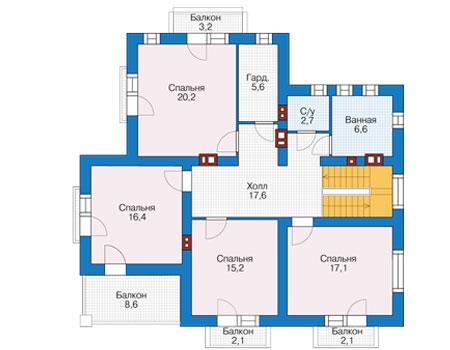 Проект бетонного дома 57-02 план