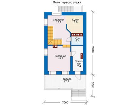 Проект бетонного дома 57-06 план