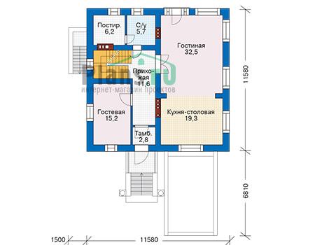 Проект бетонного дома 57-14 план
