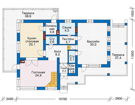 Проект бетонного дома 57-22 план