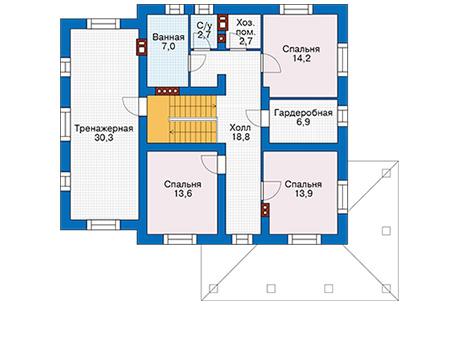 Проект бетонного дома 57-23 план