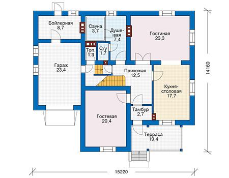 Проект бетонного дома 57-28 план