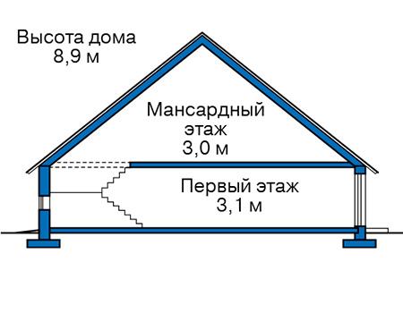Проект бетонного дома 57-32 план