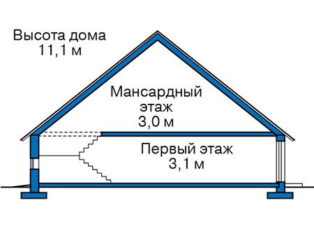 Проект бетонного дома 57-38 план