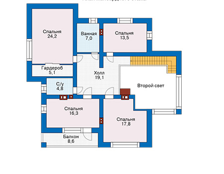 Проект бетонного дома 57-40 план