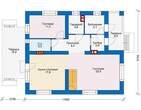 Проект бетонного дома 57-44 план