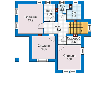 Проект бетонного дома 57-54 план