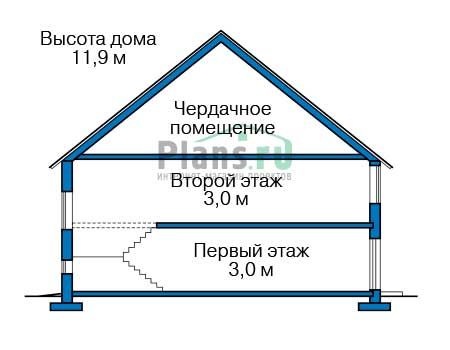 Проект бетонного дома 57-56 план