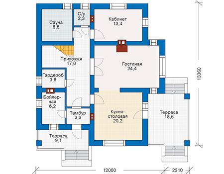 Проект бетонного дома 57-58 план