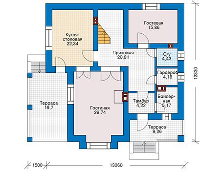 Проект бетонного дома 57-69 план
