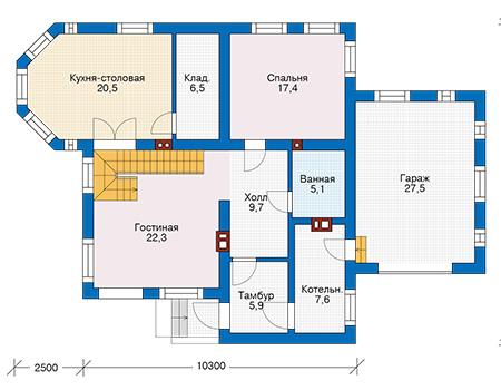 Проект бетонного дома 57-71 план