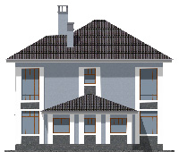 Проект бетонного дома 57-73 фасад