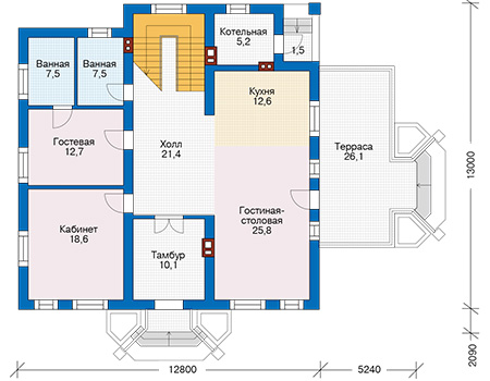 Проект бетонного дома 57-76 план
