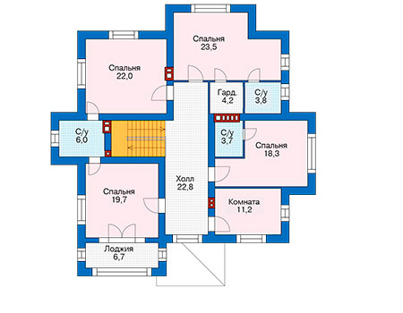 Проект бетонного дома 57-79 план