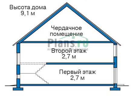 Проект бетонного дома 57-80 план