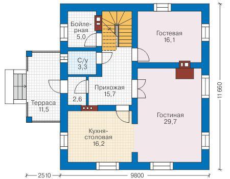 Проект бетонного дома 57-81 план