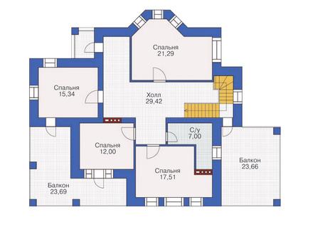 Проект бетонного дома 57-83 план