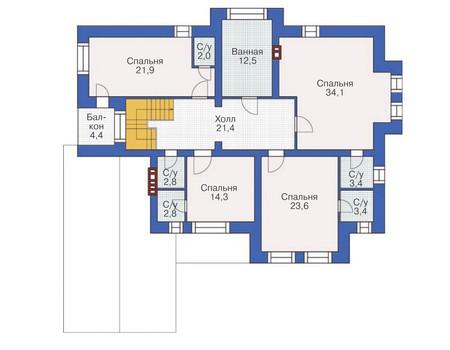 Проект бетонного дома 57-86 план