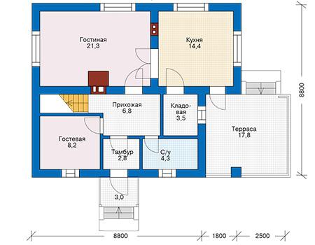 Проект бетонного дома 57-95 план
