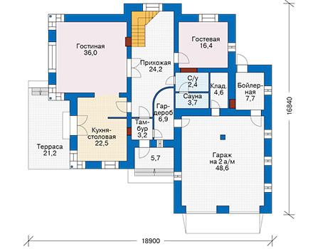 Проект бетонного дома 57-97 план