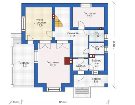 Проект бетонного дома 58-02 план