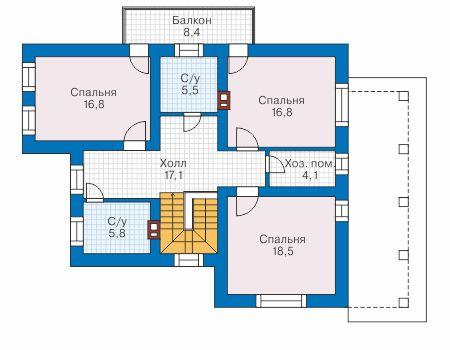 Проект бетонного дома 58-06 план