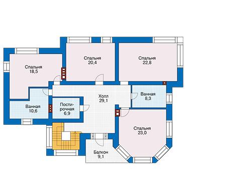Проект бетонного дома 58-16 план