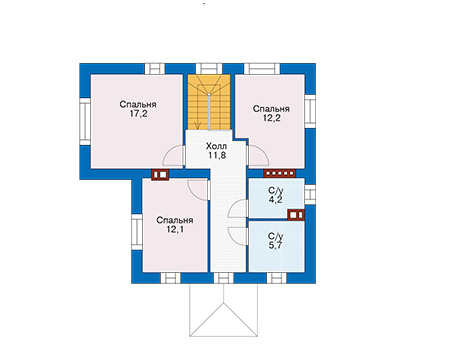 Проект бетонного дома 58-17 план