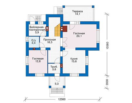 Проект бетонного дома 58-19 план