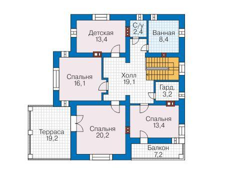 Проект бетонного дома 58-24 план
