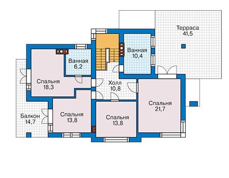 Проект бетонного дома 58-25 план