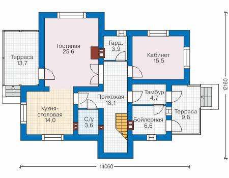 Проект бетонного дома 58-31 план