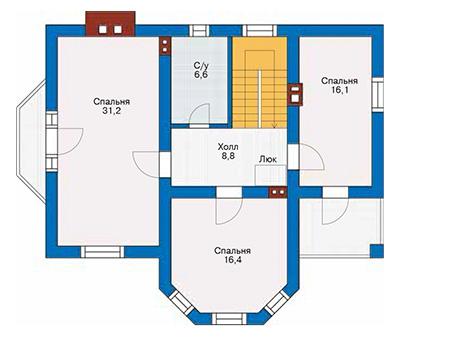 Проект бетонного дома 58-32 план