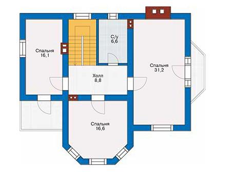 Проект бетонного дома 58-33 план