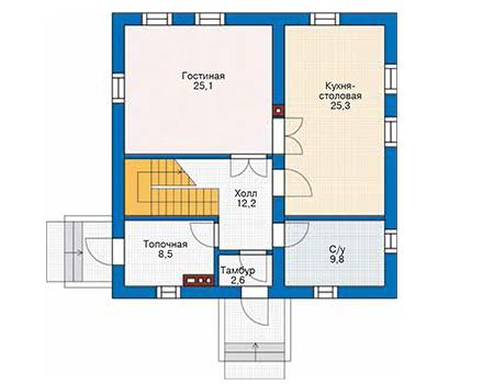 Проект бетонного дома 58-38 план