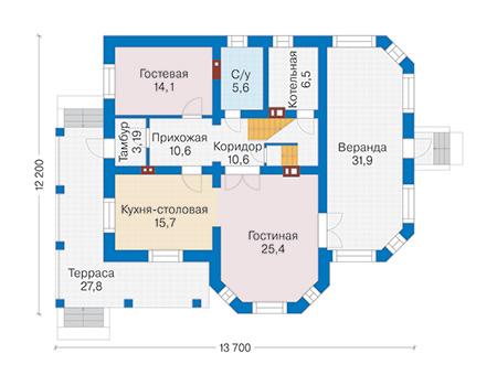 Проект бетонного дома 58-42 план