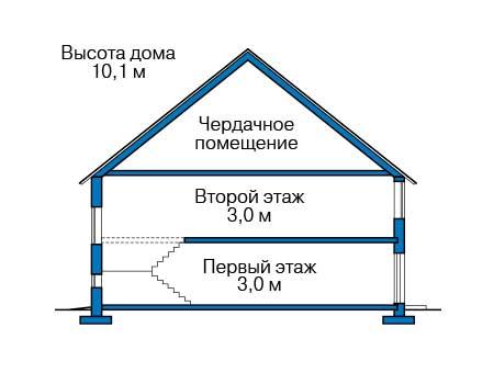 Проект бетонного дома 58-43 план