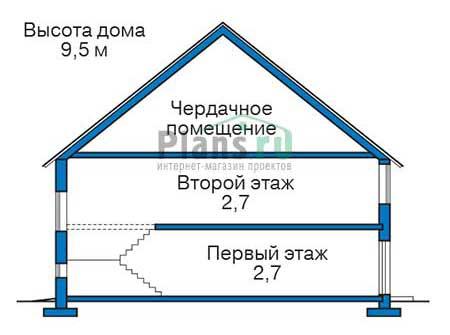 Проект бетонного дома 58-44 план