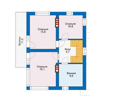 Проект бетонного дома 58-48 план