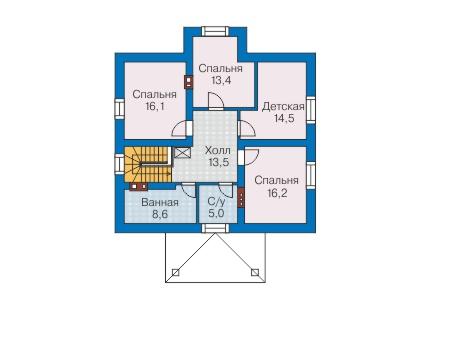 Проект бетонного дома 58-61 план