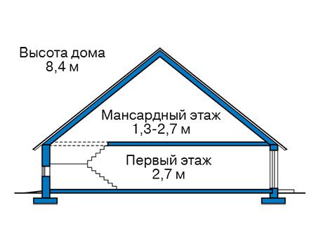 Проект бетонного дома 58-70 план