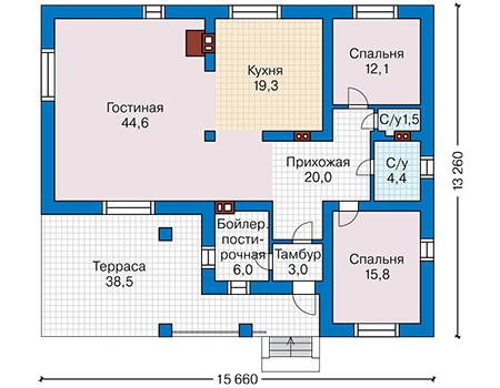 Проект бетонного дома 58-72 план