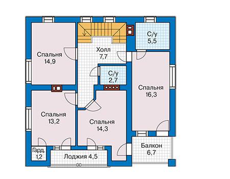 Проект бетонного дома 58-74 план