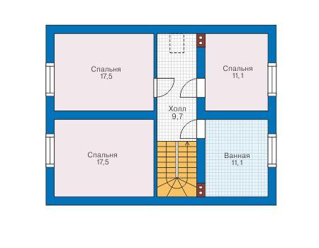 Проект бетонного дома 58-75 план