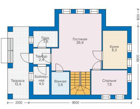 Проект бетонного дома 58-76 план